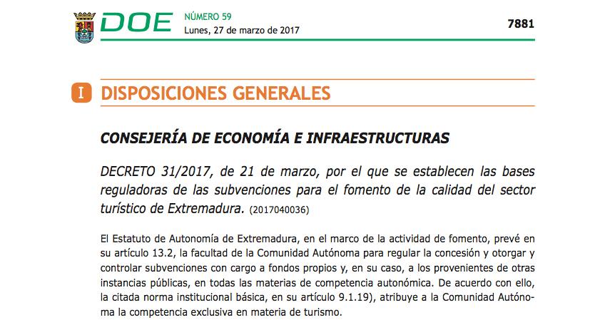 Subvenciones para el fomento de la calidad del sector turístico de Extremadura