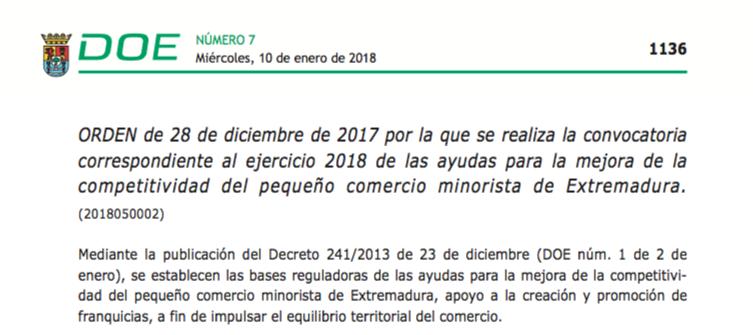 Ayudas para la mejora de la competitividad del pequeño comercio minorista de Extremadura.